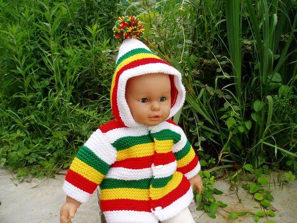 Manteau rasta rayé  blanc,rouge,jaune,vert  (taille 3 mois)